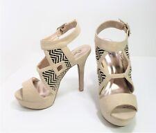 Qupid Women's Strappy Sandals 3 ½ inch Heels Size 6