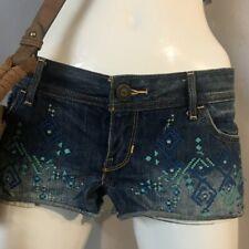 Hollister Co Aztec Geometric  Boho print denim jean shorts Micro Mini sz7