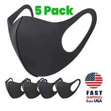 [5 PACK] Breathable Black SPONGE FOAM Mouth Face  Mask THIN Lightweight Cover