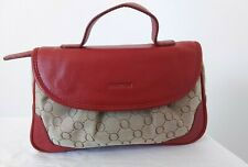 OROTON Red and Stencil Make-up Carry Bag With Mirror Leather Small