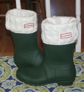 Ladies Spot On Knitted Cuff Wellingtons With Pom Pom Detail