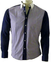 Camicia Uomo Ragazzo OVERMAIL B339 Blu Righe Slim Tg S M L XL XXL veste piccolo