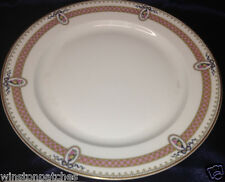 """M REDON LIMOGES RDN28 PL40 FLORAL CAMEOS PINK BAND & RIBBON DINNER PLATE 9 3/4"""""""