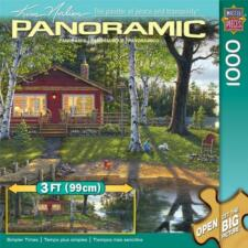 MASTERPIECES PANORAMIC 1000 JIGSAW PUZZLE SIMPLER TIMES KIM NORLIEN LAKE CABIN