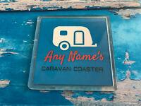 Personalised Caravan Coaster  - Drink Coaster - Caravan - Blue Tableware