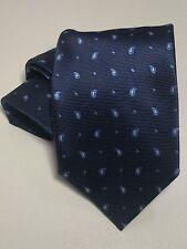 Ermenegildo Zegna Mens Woven Mini Paisley 100% Silk Tie Italy Blue $195