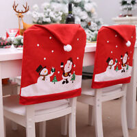 US Santa Red Hat Chair Covers Christmas Decorations Dinner Chair Xmas Cap Sets