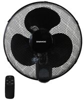 """Daewoo 16"""" Oscillating Wall Mounted Air Cool Fan with Timer & Remote - Black"""