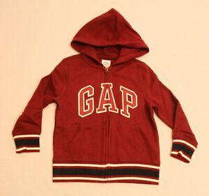 GAP Boy's Long Sleeve Logo Full Zip Hooded Sweatshirt CB6 Burgundy Size XS NWT