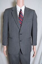 Vintage '80s Kingsridge custom gray pinstripe 2 piece suit 2 button 40 36X27.5