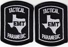 Texas TACTICAL PARMEDIC subdued 2 MINI/HAT PATCHES/1 pair TX EMT