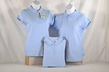 Pack Of 3, Youth Girl's Dockers Uniform Short Sleeve Polo T-Shirt in Blue