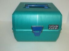 Vintage 80s Sassaby Makeup Train Travel Case box Jewelry Organizer Green blue