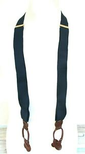 """CAS BLUE ELASTIC BROWN REAL LEATHER BUTTON Y-BACK 1.25""""Wd MEN'S SUSPENDERS (T21"""