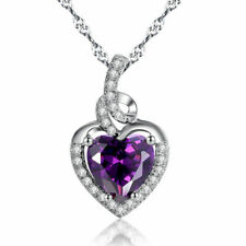 2.0ct Heart Shaped 8mm Created Amethyst Pendant in Sterling Silver W/ Chain