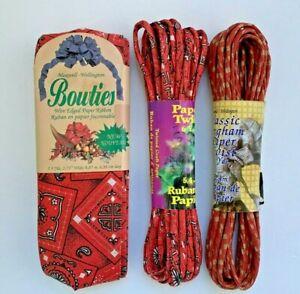 Twisted Paper Ribbon Red Gingham & Bandana Print + Wired Bandana Paper Ribbon