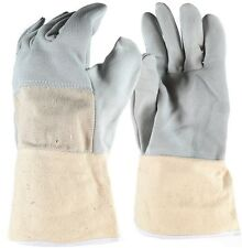 Cow Split Leather Gloves with Extended Fabric Cuff Size L x 2 Pairs
