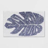 "Opalhouse- Palm Blue Bath Rug Dark Blue, 20"" X 32"" bathroom bath mat 100% Cotton"