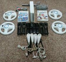 Nintendo Wii Console Mario Kart Bundle w/ Wii Sports resort 4 remotes & 4 Wheels