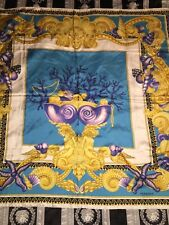 $450 VERSACE SCARF SILK LA MER MERMAIDS CORAL  NEW ITALY U CAN FRAME IT FOR WALL