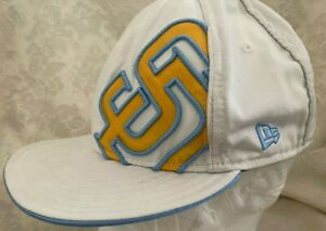 San Diego Padres New Era 9Fifty White gold blue logo fitted 7 1/2 Hat