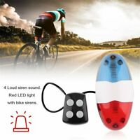 Bike Bicycle Cycling 4 Sounds LED Police Car Siren Electric Light Horn Bell HA