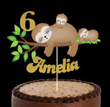 ADORABLE SLOTHS PERSONALISED CAKE TOPPER/ CAKE INSERT ANY NAME AND AGE ADDED