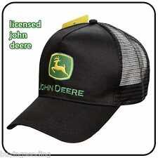 UK SELLER BRAND NEW GENUINE JOHN DEERE BLACK TRUCKER MESH CAP TRACTOR HAT
