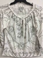 Lauren Michelle Womens Blouse White Floral Self Tie Slit Embroidered Stretch XL