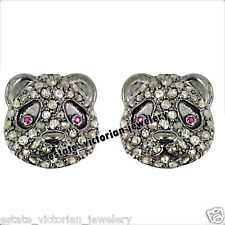 Studded Silver Studs Earring Jewelry Victorian Inspired 1.89ct Rose Diamond Ruby