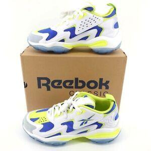 Reebok Men's DMX Series 1600 White/Lime/Blue Running Sneakers (CN5805), Size 10