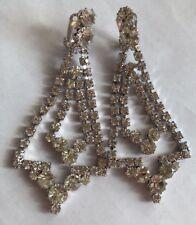 Vintage old Hollywood rhinestone drop earrings 50s Shoulder Duster Long