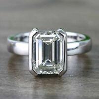 3 Ct Emerald Cut Diamond Half Bezel Engagement Ring Solid 14K White Gold Finish