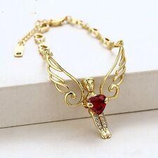 14K YELLOW GOLD GF SOLID RED RUBY ANGEL HEART CHAIN WOMEN GIRL BRACELET 18-22CM