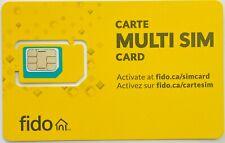 Fido Multi SIM Card 3 in 1 Nano, Micro Standard size LTE Wireless Mobile