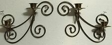 """Homco Home Interiors Two Double Arm Sconces With Cascading Swirls 10"""" Tall x 10"""""""