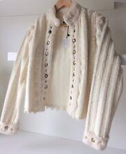 Koo Ture Size M 10/12/14 Fur Jacket Cream/Ivory Studs Stripes  BNWT