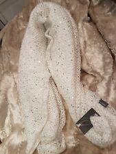 Beautiful Aqua Galaxy Sequin Muffle Knit Scarf Ivory Gift RRP$48
