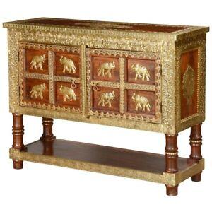 8 Golden Elephants Mango Wood & Brass Inlay Console Table Chest 115x40x90