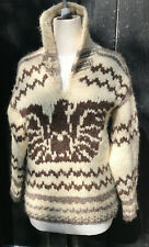 Cowichan Indian 100% Wool Vintage Handknit Sweater Eagle Size Small