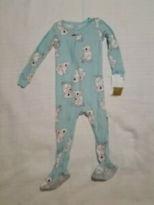 NWT Baby Girl Carter's Koalas Footed Pajamas Size 24 Months Green w. White Bears