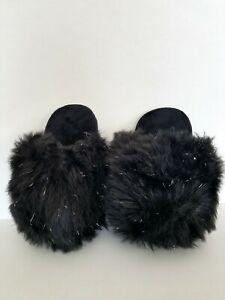 INC International Concepts Fur  Metallic Soft Plush Slippers Black White NWT $30