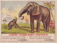 Victorian Trade Card Jumbo Feeds Baby Elephant Castoria & Centaur Liniment 4 x 3