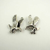 10pcs Antique Style Silver Alloy Flying Eagle Hawk Pendant Charms 27X19X4mm