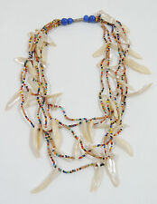 """Multi Color Seed Bead Off White Seashell 5 Strand 15"""" Necklace"""