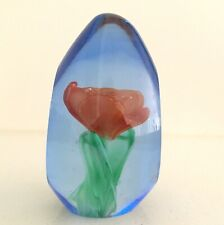 PW7) ORANGE FLOWER GLASS PAPERWEIGHT HOME DECOR