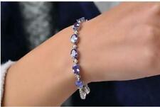 18K white gold Solid beautiful blue sapphire Women's Tennis bracelet