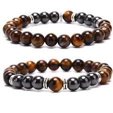 Natural Stone Tiger Eye Beads Hematite Stretch Bracelet Men Charm Bangle Jewelr-