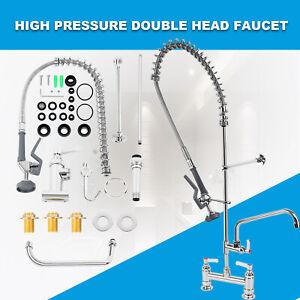 Commercial Kitchen Pre-Rinse Faucet Tap Spray Arm Single Pedestal Flexible Hose