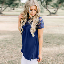 Womens Short Sleeve Lace Blouse Ladies Summer Hollow Loose Tank Tops T-Shirt New